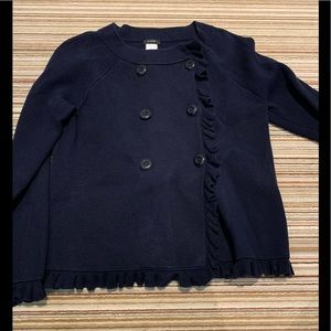 J.CREW Double Breasted Navy Ruffle Sweater/Jacket